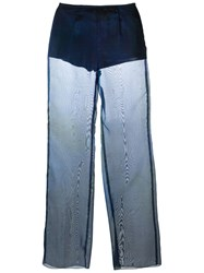 Romeo Gigli Vintage Sheer Flared Trousers Blue