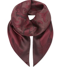 Aspinal Of London Signature Print Silk Scarf Burgundy