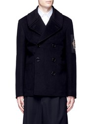 Alexander Mcqueen Badge Patch Embroidery Double Breasted Peacoat Black