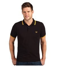 Slim Fit Twin Tipped Fred Perry Polo Black Bright Yellow Men's Short Sleeve Knit