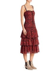 Marc Jacobs Leopard Printed Dress Bright Red