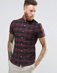 Asos Skinny Buffalo Check Shirt In Rust With Short Sleeves Rust Brown