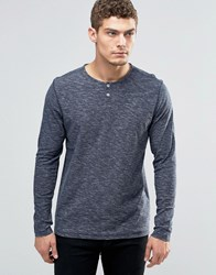 Jack And Jones Longsleeve Grandad T Shirt Navy