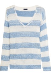 Splendid Southampton Striped Linen Sweater Sky Blue