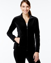 Style And Co. Sport Solid Zip Front Track Jacket Only At Macy's Deep Black