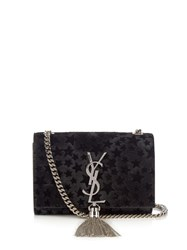 Saint Laurent Kate Small Flocked Star Calf Hair Cross Body Bag Black