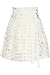 Sacai Luck Pleated Cotton Lace Wrap Mini Skirt White