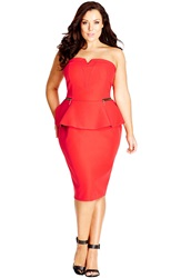 City Chic 'Miss Sassy' Strapless Peplum Dress Plus Size Hot Coral
