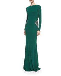 Badgley Mischka Long Sleeve Draped Back Beaded Gown Emerald