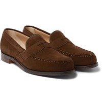 Cheaney Hudson Suede Penny Loafers Brown