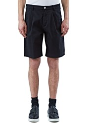 Raf Simons Front Pleat Cotton Bermuda Shorts Black