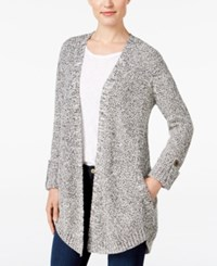 Styleandco. Style Co. Marled Open Front Cardigan Only At Macy's Black Warm Ivory