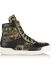 Balmain Kol Printed Canvas High Top Sneakers Black