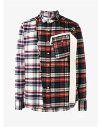 Miharayasuhiro Distressed Cotton Flannel Shirt Red Flannel White