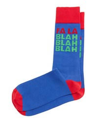 Jonathan Adler Fa La Blah Blah Printed Holiday Socks Royal
