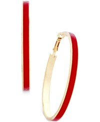 Thalia Sodi Gold Tone Red Enamel Hoop Earrings Only At Macy's Gold Red