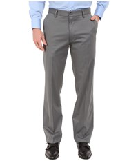 Dockers Signature Khaki D2 Straight Fit Flat Front Burma Grey Stretch Men's Casual Pants Gray