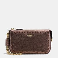 Coach Lacquer Rivets Nolita Wristlet 19 In Pebble Leather Light Gold Bronze