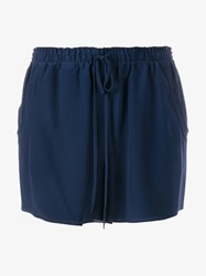 Chloe Silk Drawstring Shorts Blue