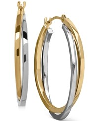 Macy's Two Tone Intertwined Hoop Earrings In 14K Gold And 14K White Gold