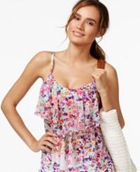 Kenneth Cole Reaction Mesh Floral Print Tankini Top Women's Swimsuit White