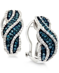 Wrapped In Love White And Blue Diamond Hoop Earrings In Sterling Silver 1 Ct. T.W.
