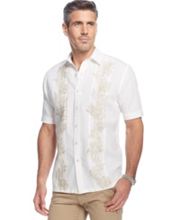 Tasso Elba Island Big And Tall Linen Blend Palm Print Pintuck Shirt White Combo