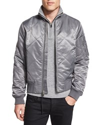 Rag And Bone Manston Quilted Zip Up Bomber Jacket Gray
