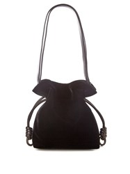 Loewe Flamenco Knot Small Velvet Shoulder Bag Black