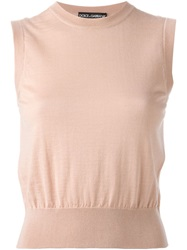 Dolce And Gabbana Cropped Tank Top Pink And Purple