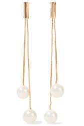 Kenneth Jay Lane Gold Plated Faux Pearl Earrings