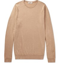 John Smedley Norland Cashmere And Silk Blend Sweater Camel