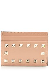 Valentino Leather Rockstud Card Holder Beige