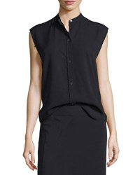 Helmut Lang Sleeveless Back Knot Poplin Shirt Black