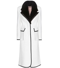 Thom Browne Fur Trimmed Wool Coat White
