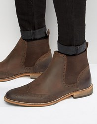 Asos Chelsea Boot In Brown Leather With Natural Sole Brown