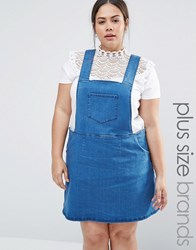 Nvme Denim Pinafore Dress With Side Zips Vintage Denim Blue