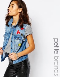 Noisy May Petite Denim Waistcoat With Patched Embroidery Blue