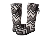 Sanuk Snuggle Up Black Multi Chevron Women's Pull On Boots