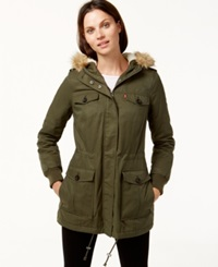 Levi's Hooded Faux Fur Sherpa Lined Jacket Army Green