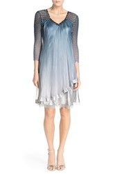 Women's Komarov Embellished Chiffon And Charmeuse A Line Dress