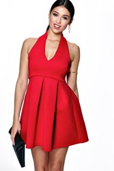 Boohoo Plunge Empire Seam Bonded Skater Dress Red