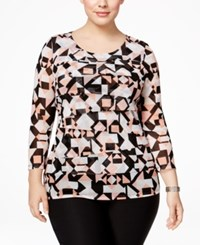 Alfani Plus Size Tiered Printed Mesh Top Only At Macy's Small Diamond Bisque