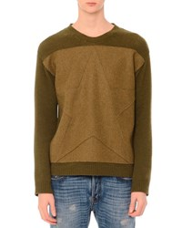 Valentino Tonal Star Patch Colorblock Crewneck Sweater Army