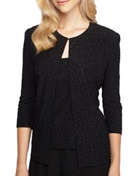 Alex Evenings Plus Beaded Jacket And Scoopneck Top Set Black