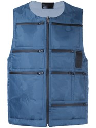 Letasca Camouflage Quilted Zipped Vest Blue