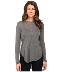 The Beginning Of Courtney High Low Mixed Stripe Long Sleeve Crew Thin Stripe Women's Clothing Gray