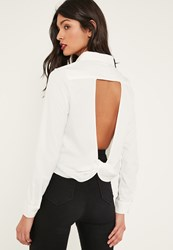 Missguided White Open Twist Back Shirt