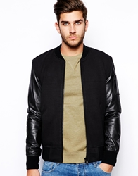 Selected Bomber Jacket With Leather Sleeves Black