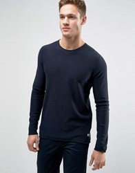 Jack And Jones Jumper With Raw Hem Detail Navy